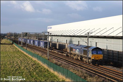 66421 'Gresty Bridge TMD' nears journeys end as it approaches Daventry North Junction at Barby Nortoft with 4M51 0620 South Bank Tees Dock-Daventry DRS (DIRFT 2) on 03/01/2020.