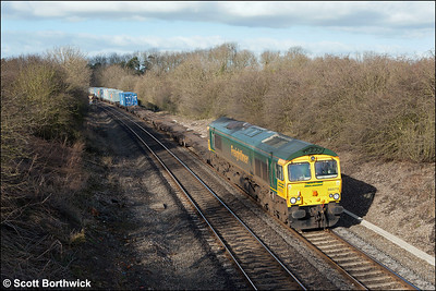 66575 powers through Claydon with 4O27 1001 Trafford Park-Southampton MCT on 26/01/2006.