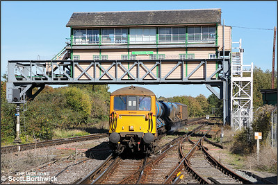73141 top & tails 73107 whilst working 3W74 0546 Tonbridge West Yard GBRF-Tonbridge West Yard GBRF 'leafbuster' passing under the signal box at Canterbury West on 09/10/2018.