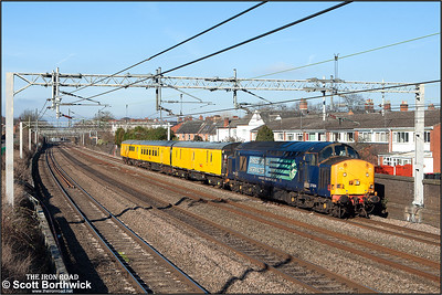 37604 provides the power for 3Z68 1055 MO Derby RTC-Euston Down Carriage Shed Neck infrastructure monitoring train passing Atherstone on 09/02/2015.