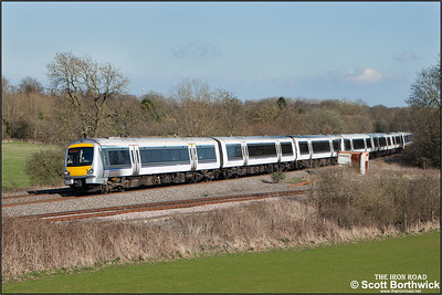 168218+168110+172103 form 1G47 1506 MO STP London Marylebone-Birmingham Snow Hill passing Hatton North Jnct on 06/04/2015.