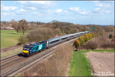 68008 'Avenger' climbs Hatton bank with 1G40 1336 MO STP London Marylebone-Birmingham Snow Hill on 06/04/2015. (Photo taken with camera mounted on a pole & remotely triggered)