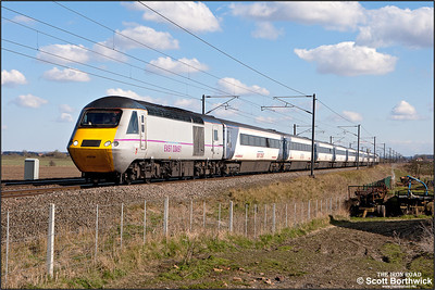 43238/43206 form 1S22 1500 London King's Cross-Edinburgh Waverley passing Broad Fen Lane, Claypole on 03/04/2013.