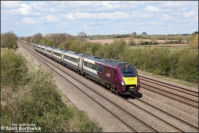 222002 forms 1C45 1229 Sheffield-London St Pancras International at Cossington on 12/04/2021.