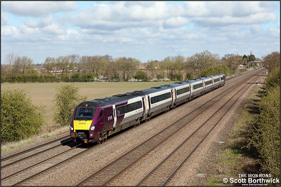 222006 passes Cossington whilst forming 1B28 0945 Nottingham-London St Pancras International on 15/04/2021.