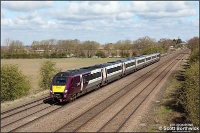 222006 passes Cossington whilst forming 1B28 0945 Nottingham-London St Pancras International on 15/04/2021.