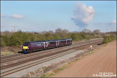 222104 forms 1F12 0831 London St Pancras International-Sheffield at Cossington on 12/04/2021.