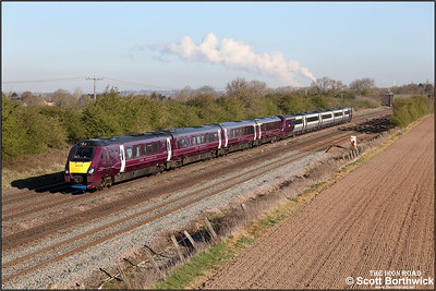 222104+222014 pass Cossington whilst forming 1B21 0704 Lincoln-London St Pancras International on 15/04/2021.