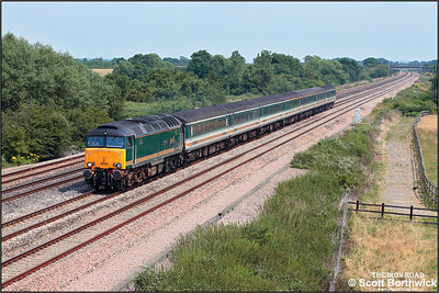 57603 'Tintagel Castle' passes Denchworth with 5Z35 1110 Old Oak Common-Old Oak Common via Swindon, Bristol Parkway and Bath Spa driver training run on 13/07/2005 . On this occasion the loco would run round at Bristol Parkway and return directly rather than running via Bath Spa.
