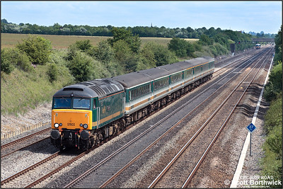 57603 'Tintagel Castle' passes Shottesbrooke Farm with 5Z35 1110 Old Oak Common-Bristol Parkway driver training run on 11/07/2005.