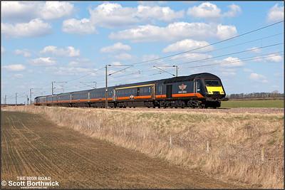 43467 brings up the rear of 1N93 1253 London King's Cross-Sunderland, lead by 43480, passing Frinkley Lane, Marston on 03/04/2013.