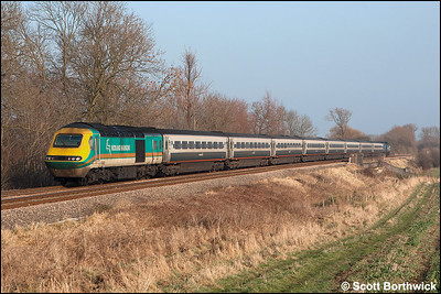 43083 trails 43044 whilst working 1B33 1259 Nottingham-London St Pancras on 28/01/2006. The train is photographed near Rotherby to the west of Melton Mowbray whilst being diverted away from the Midland Main Line due to engineering work at Market Harborough.