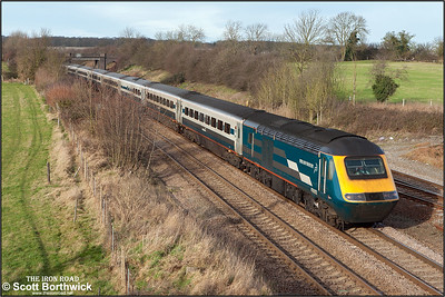 43007 powers through Sharnbrook on 03/01/2005 whilst working 1B25 1130 Nottingham-London St Pancras. 43047 is out of view on the rear.