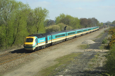 43083/43076 arrive at Stenson Jnct on 07/04/2002 with a diverted Midland Mainline service to London St Pancras. The train would reverse here and take the freight only line via Castle Donnington to Sheet Stores Jnct in order to regain its booked route.