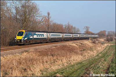 In its original 9 car formation, 222002 passes Rotherby whilst forming 1C35 1245 Sheffield-London St Pancras on 28/01/2006.
