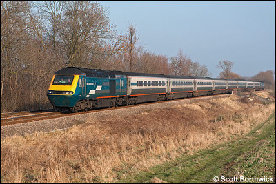 43051/43085 approach Rotherby on 28/01/2006 with the diverted 1D22 1155 London St Pancras-Nottingham.