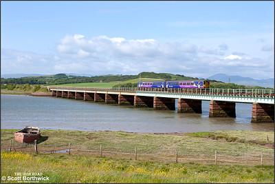 156481 crosses Eskmeals Viaduct whilst forming 2C38 1512 Carlisle-Preston on 26/06/2013.