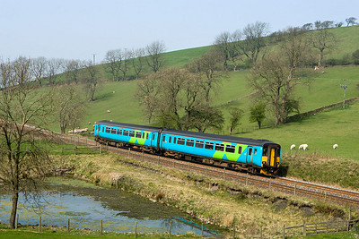 156463 passes the pond at Hellifield whilst forming 2H87 1040 Morecambe-Leeds on 14/04/2007.