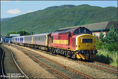 37415 seen stabled between duties at Fort William on 02/08/2002. The trains next duty would be 1B01 1950 Fort William-Edinburgh Waverley, with the sleeping cars going forward to London Euston.