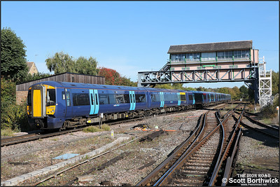 375609 trails 375809 whilst forming 2R26 1010 London Charing Cross-Ramsgate departing Canterbury West on 09/10/2018.