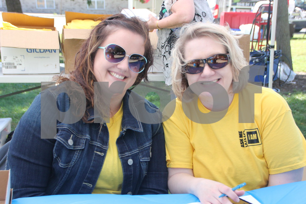 Opportunity Village Walk and Appreciation Lunch took place at the square by the library in Fort Dodge. The event was held on Sunday, September 11, 2016. Pictured (left to right) is: Megan Byrd and Jen Papoucis.