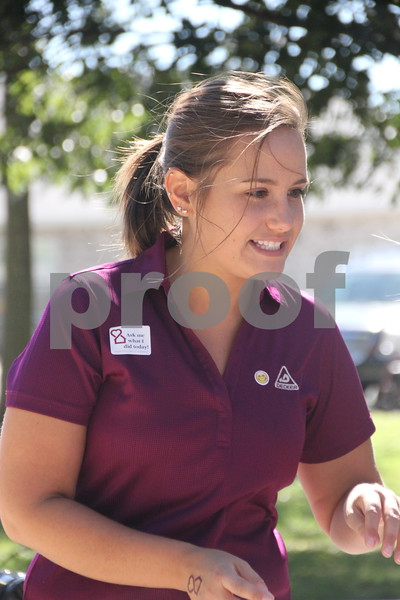 The Opportunity Village Walk and Appreciation Lunch took place at the square by the library in Fort Dodge on Sunday, September 11, 2016. Here Megan Kruse is seen here taking time out for a picture at the event.