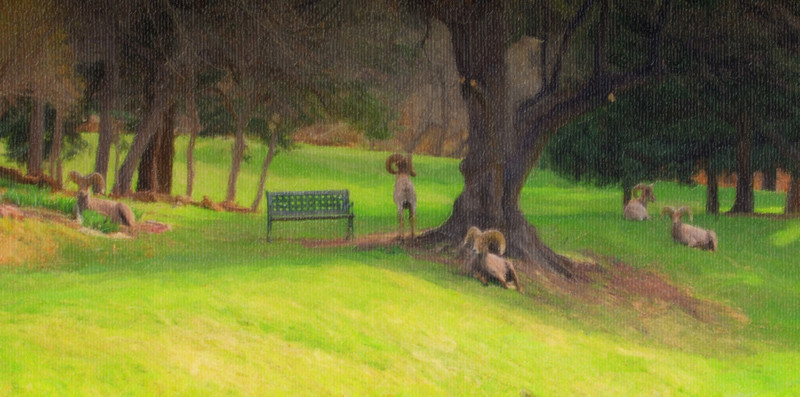 mountain goats meadow painting-1