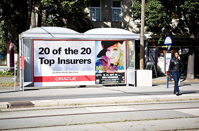 Ad across the Messe Wien.  All the ads in the tram stands were full except for this one where we share it with Madonna.  Unfortunately, it would have been better if this had the 20 out of 20 Banks instead of the insurers.  Does Madonna really share our space?