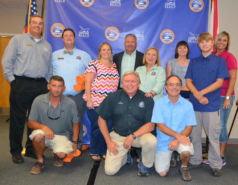 2016 Orange Beach Employee of the Year Nominees<br /> <br /> The City of Orange Beach recognized Nicole Woerner of the city's Environmental & Engineering Dept. with its 2016 Employee of the Year award during a July City of Orange Beach and Community Center Association sponsord potluck Night of Recognition. Other Orange Beach employees receiving special recognition for their dedicated work included Ja Neese of Parks & Rec/Public Works, Jonathon Langston of Parks & Rec, Chris Conway of Public Works, Jeanne Fitzgibbons of Parks & Rec, Sandra Wyatt of Public Works, Felix Revuelta of Public Works/Finance, Janie Joiner of Community Development, Nate McMillan of Sewer, Christy Palmer of Court, Chuck Smith of Community Development and Paulette Taylor of Community Development. Orange Beach Police and Fire Dept. employees will ge recognized during the November Orange Beach Community Center potluck.