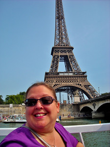 Paula Bartie and Eiffel Tower from boat cruise on the Seine