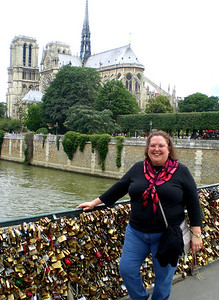 Lock Bridge with Notre Dame in Paris