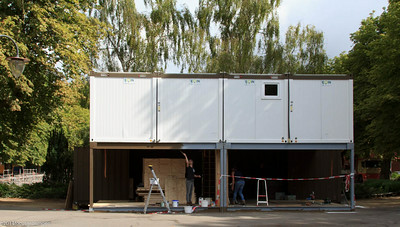 nederland 2014, groningen-oranje- en plantsoenwijk, noorderzon, opbouw
