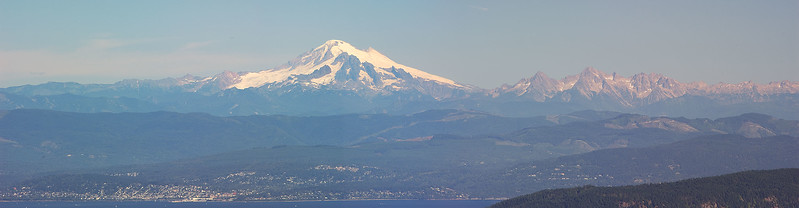 View of Mt. Baker and Bellingham from Mt. Constitution, Orcas
