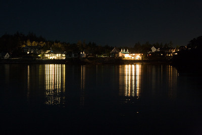 Eastsound waterfront at night from the community dock.