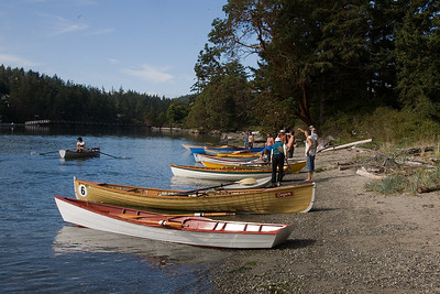Orcas has two wooden boat races every Summer. This is the one for rowing boats getting ready for the start.