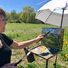 Mary Rose O'Connell added some blue to the canvas to match the sky on this beautiful May afternoon. Photo by Mary Leach