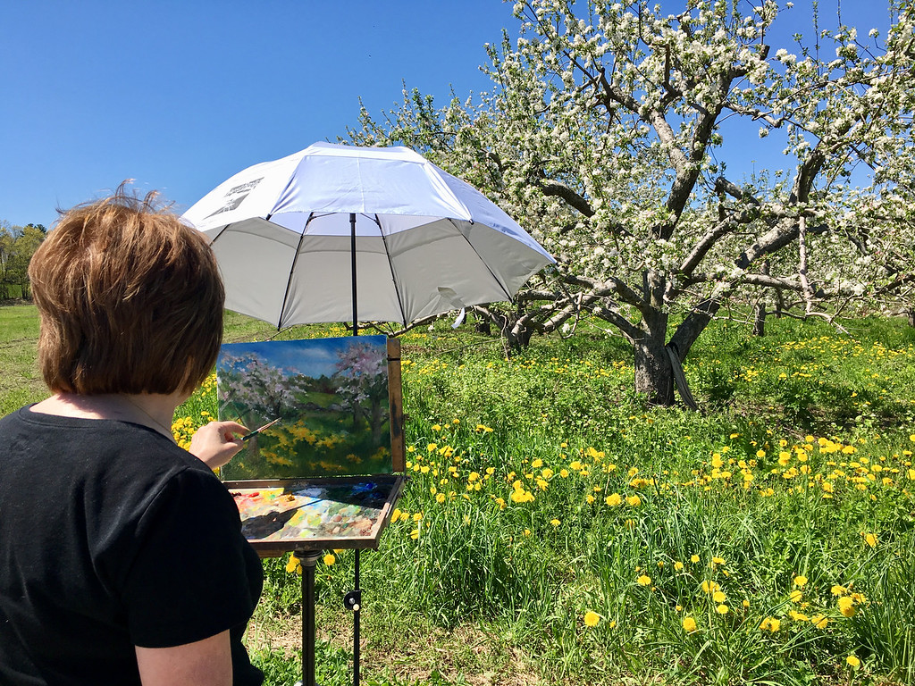 . Artist Mary Rose O\'Connell painted the apple orchard in full bloom at Griggs Farm.  Photo by Mary Leach