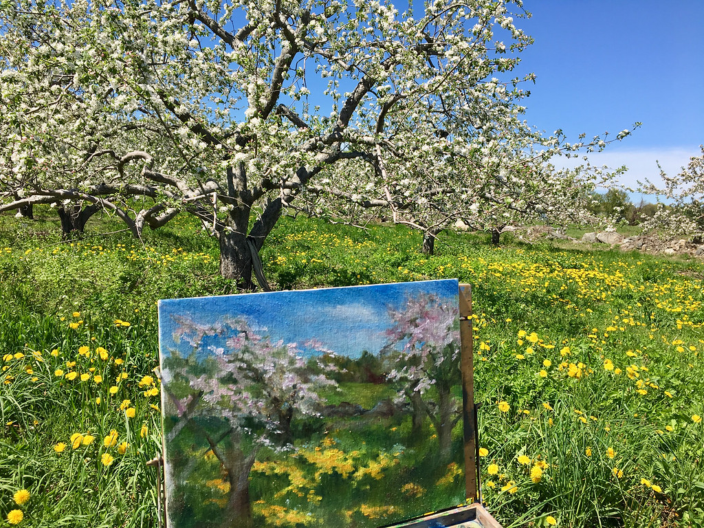 . The painting of the orchard stood in front of the blooming trees. O\'Connell said she would complete it later. Photo by Mary Leach