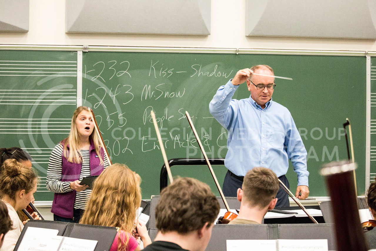 The K-State orchestra practices in McCain Auditorium on Nov. 9, 2017. (Logan Wassall   Collegian Media Group)