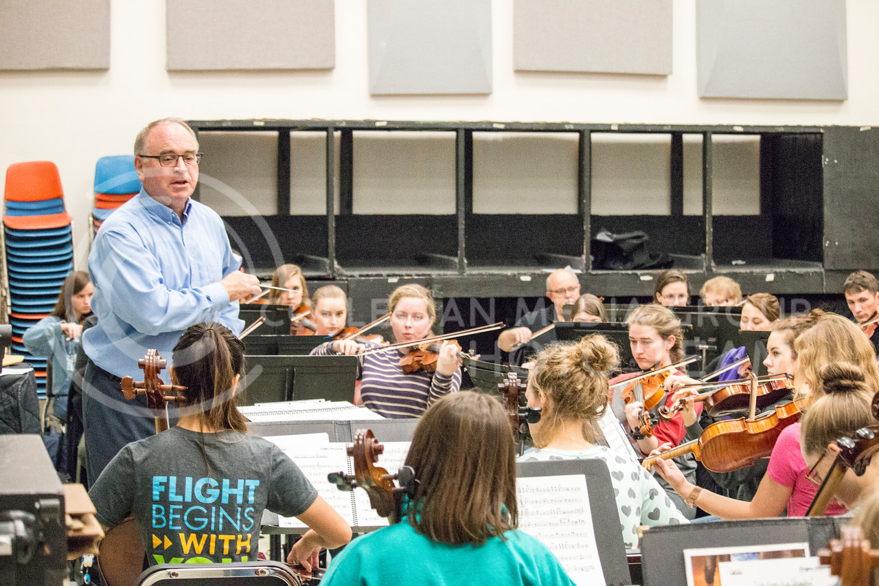 The K-State orchestra practices in McCain Auditorium on Nov. 9, 2017. (Logan Wassall | Collegian Media Group)