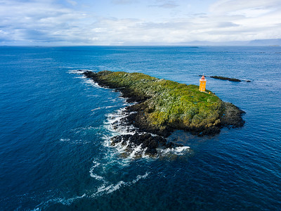 Drone flight over an Icelandic Lighthouse
