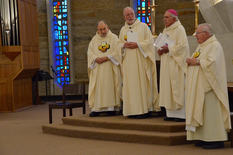 Fr. Ed welcomes the jubilarians, several of whom were his teachers when he was a seminarian