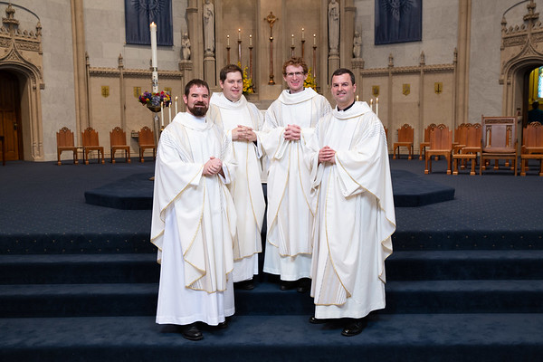 Jesuits Bryan Norton, SJ, Gregory Ostdiek, SJ, James Sand, SJ, and Matthew Spotts, SJ, were ordained on June 8, 2019, at the Church of the Gesu in Milwaukee at 10:00 a.m.   The presider was the Most Rev. Robert D Gruss, bishop of the Diocese of Rapid City in South Dakota.  Photo: Steve Donisch