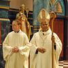 The Most Rev. William D'Souza (right), archbishop of Patna, India, officiated at the Ordination Mass for Fr. Joel Medina, SJ, at Saint Francis Xavier Church, Cincinnati, Ohio on Saturday June 11, 2010.  He is pictured here with Fr. Tom Lawler, SJ (left).