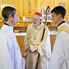 The Most Reverend Richard Sklba, DD, Auxiliary Bishop Emeritus of Milwaukee (center) shares a quiet moment with Nathan C. Wendt (left), and Paul J. Shelton,  before their ordination on June 7, 2014, at Church of the Gesu in Milwaukee.
