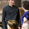 Nathan C. Wendt, SJ (left), shares a quiet moment before his ordination on June 7, 2014, at Church of the Gesu in Milwaukee.