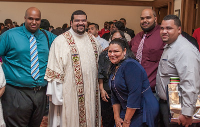 L-R - Anthony Pickard II,  Luis Efrain Alvarez Velazquez, Carmen Velazquez, Anthony Pickard III, Jonathan Alvarez. The Rite of Ordination to the order of Diaconite for Luis Efrain Alvarez Velazquez, Brian Baker, Desmond Drummer, Junot Nelvy and Reybert Pineda Avellaneda took place Saturday, May 25, 2013 at the Cathedral of Christ the King in Buckhead, Georgia. Archbishop Wilton Gregory, Bishop Luis Zamara and Bishop Talley were principal celebrants. (Photo by Thomas Spink for the Georgia Bulletin)