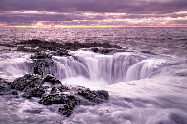 February Sunset at Thor's Well, Cape Perpetua Scenic Area, OR