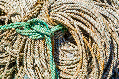 Coiled lines of rope at Newport Harbor, Yaquina Bay, Oregon.