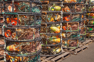 Crab traps stuffed with floats and lines, Newport Harboar, Yaquina Bay, Oregon.